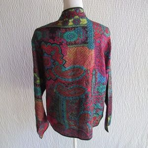 Chicos Silk Jacket Blazer XL Colorful Long Sleeve
